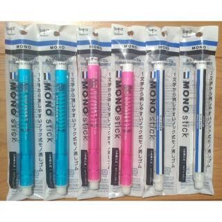 トンボエンピツ(トンボ鉛筆)の6本 ホルダー消しゴム モノスティック 本体 軸色3色組み合わせ(消しゴム/修正テープ)