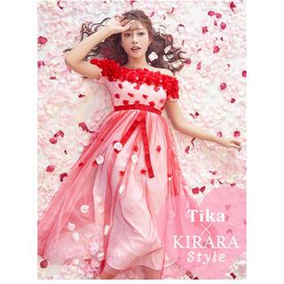 dazzy store - Tikaティカキャバロング赤ドレス レッドお花モチーフ シフォンレース