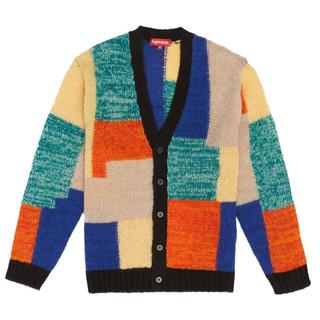 Supreme - M supreme patchwork mohair cardigan 19ss