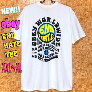 オベイ(OBEY)のUSストリート☆ 新品 OBEY  END HATE Tシャツ 白 XXL ~(Tシャツ/カットソー(半袖/袖なし))