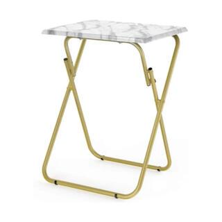 【新品未使用】大理石風PVCシート 折りたたみテーブル サイドテーブル(コーヒーテーブル/サイドテーブル)