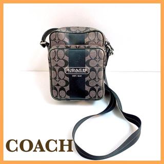 コーチ(COACH)のCOACH コーチ シグネチャー ショルダーバッグ 斜め掛け 黒 PVC レザー(ショルダーバッグ)