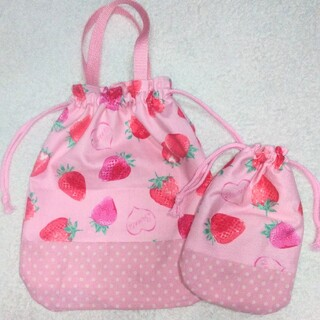 ハンドメイド ピンクいちご柄 体操着袋 コップ袋(外出用品)