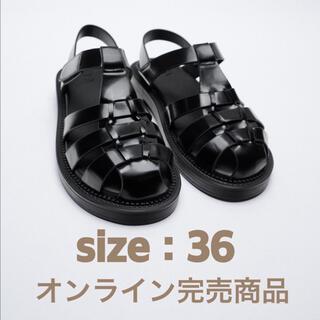 ZARA - 4月22まで出品!zara フラットケージサンダル 36