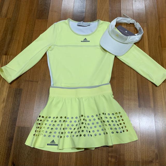 adidas by Stella McCartney(アディダスバイステラマッカートニー)のアディダス  stella macartney ステラ 黄色テニス スコート S スポーツ/アウトドアのテニス(ウェア)の商品写真