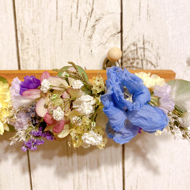 ドライフラワー フラワーラック Blue&White yellow ハンドメイドのフラワー/ガーデン(ドライフラワー)の商品写真
