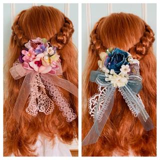 蝶々と花の髪飾り 15番(クリップとピン両方ついてます(人形)