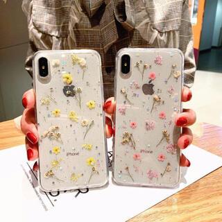iPhoneXR/ピンク iPhoneケース 押し花 リアルフラワー ラメ 上品