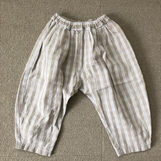 【100サイズ】used ハンドメイド タックパンツ ベージュギンガム