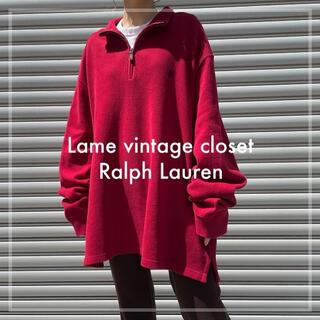 POLO RALPH LAUREN - 90s 古着 ラルフローレン ハーフジップスウェット ポニー刺繍 ビンテージ