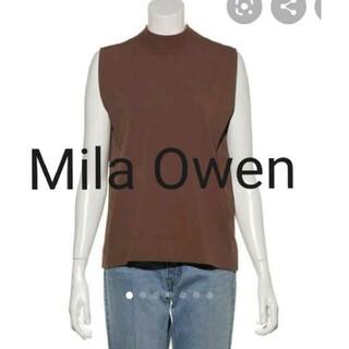 Mila Owen - 新品未使用タグ付き☆ミラオーウェン ノースリーブ肩タックニットトップス