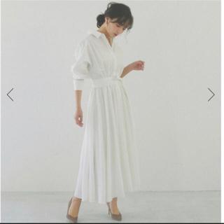 Noble - 【新品・未使用】CACHEC ウエストマークフレアシャツワンピース