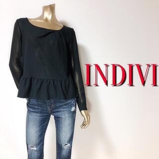 INDIVI - 大人の♪インディヴィ ギャザーペプラムブラウス♡アンタイトル イネド ノーブル