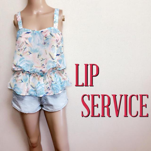 LIP SERVICE(リップサービス)の爆かわ♪リップサービス フラワーペプラムトップス♡リゼクシー リエンダ レディースのトップス(カットソー(半袖/袖なし))の商品写真