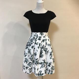 JUSGLITTY - 美品!美シルエット!上品ボリュームスカート 花柄 切り替えワンピース
