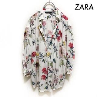 ZARA - ZARA ザラ★花柄 7分袖ブラウス スキッパーシャツ ホワイト 白