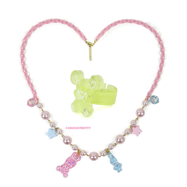 Angelic Pretty(アンジェリックプリティー)のJelly Candy Toysネックレス リング 2点セット レディースのアクセサリー(ネックレス)の商品写真