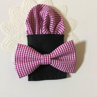 蝶ネクタイ&ポケットチーフセット*ローズピンクチェック(ファッション雑貨)