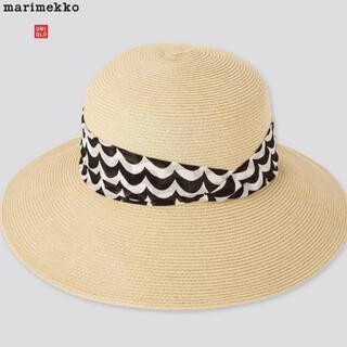 ユニクロ(UNIQLO)のマリメッコ×ユニクロ UV ペーパー ハット 帽子 麦わら帽  女優帽(麦わら帽子/ストローハット)