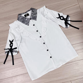 ROJITA - 送料無料 美品 ROJITA ロジータ 衿レース5分袖リボンBL ブラウス 白