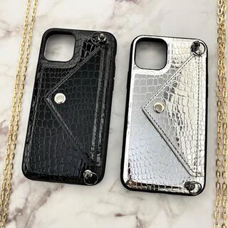 【シルバー】クロコダイル柄 iPhoneケース(iPhone11/XR)(iPhoneケース)