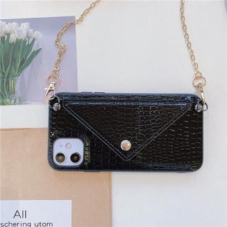 【ブラック】クロコダイル柄iPhoneケース(iPhone11pro)(iPhoneケース)