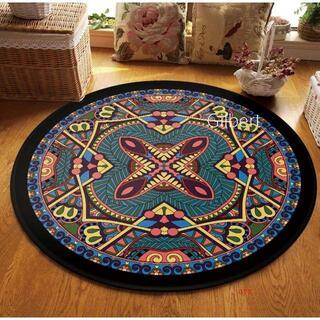 円形マット マイクロファイバー フランネルラグ 北欧 絨毯 丸洗い 軽量 折り