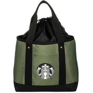 Starbucks Coffee - 正規品♡スターバックス ロゴ 巾着トートバッグ お弁当バッグ オリーブ