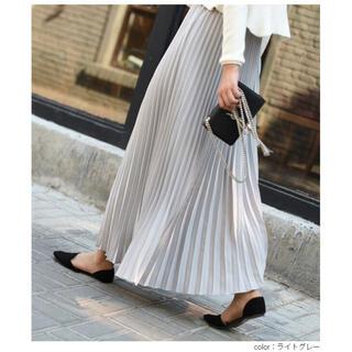 大人可愛い ロングスカート プリーツスカート ライトグレー