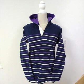 バーバリアン(Barbarian)の美品 BARBARIAN フード付き ラガーシャツ ユニセックス ボーダー(ポロシャツ)