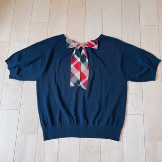 【新品.タグ付き】♡ブルーレーベルクレストブリッジ♡チェックリボン半袖カットソー(カットソー(半袖/袖なし))