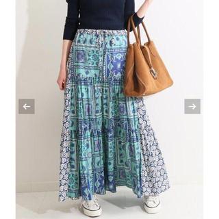 IENA - IENA LA BOUCLE スカーフプリントブロックスカート