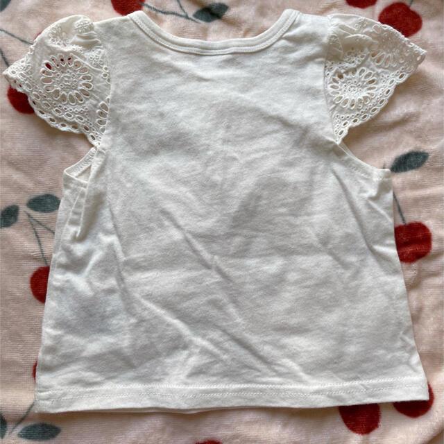 petit main(プティマイン)のpetit main レースホワイトTシャツ トップス 80 キッズ/ベビー/マタニティのベビー服(~85cm)(Tシャツ)の商品写真