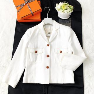エルメス(Hermes)の美品 HERMES エルメス レザー Hお刺繍 サマー ジャケット シルク(テーラードジャケット)