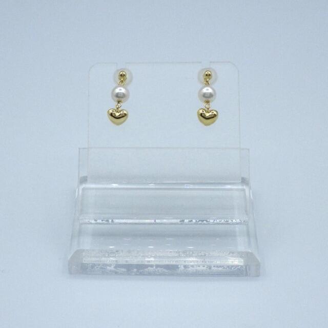 パール ハートパーツ 18k イエローゴールド ブラピアス レディースのアクセサリー(ピアス)の商品写真