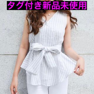 タグ付き新品☆sheller☆カシュクールリボンペプラムトップス(シャツ/ブラウス(半袖/袖なし))