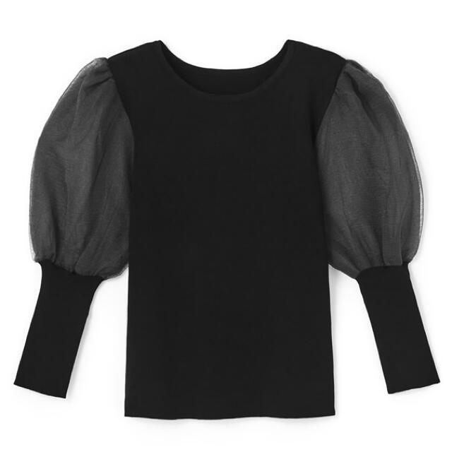 GRL(グレイル)のGRL 袖チュール切替えニットトップス  レディースのトップス(シャツ/ブラウス(長袖/七分))の商品写真