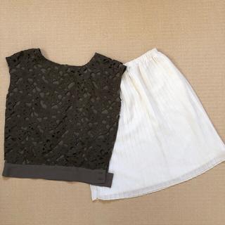 エニィスィス(anySiS)のトップス(カーキ)とスカート(ホワイト)のセット(Tシャツ(半袖/袖なし))