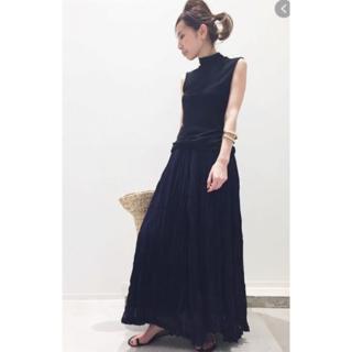 アパルトモンドゥーズィエムクラス(L'Appartement DEUXIEME CLASSE)の美品! Col Pierrot コルピエロ Pleats Skirt ブラック(ロングスカート)