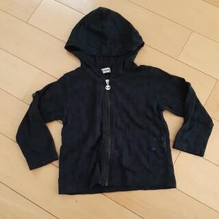 シマムラ(しまむら)の薄手 パーカー 黒 ドクロ 90 袖調節(ジャケット/上着)