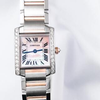 Cartier - 【仕上済】カルティエ タンク フランセーズ PG ダイヤ レディース 腕時計