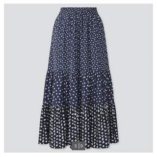 ポールアンドジョー(PAUL & JOE)の中古美品UNIQLO ポール&ジョー 花柄ティアードスカート(ロングスカート)