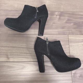 シマムラ(しまむら)のしまむら ショートブーツ 24.5 24 ブラック 黒 avail ブーツ(ブーツ)