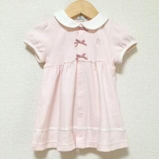 クミキョク(kumikyoku(組曲))の組曲 80~90(BM) 白襟付きドット柄ワンピース ピンク オンワード樫山(ワンピース)