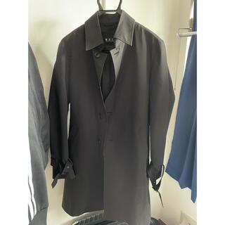 アオキ(AOKI)のAOKI ロングコート ステンカラーコート アウター 春 ブラック(ステンカラーコート)