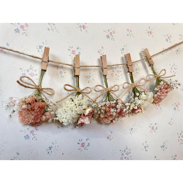 パステルサーモンピンクのバラとかすみ草の淡いオレンジドライフラワーガーランド♡ ハンドメイドのフラワー/ガーデン(ドライフラワー)の商品写真
