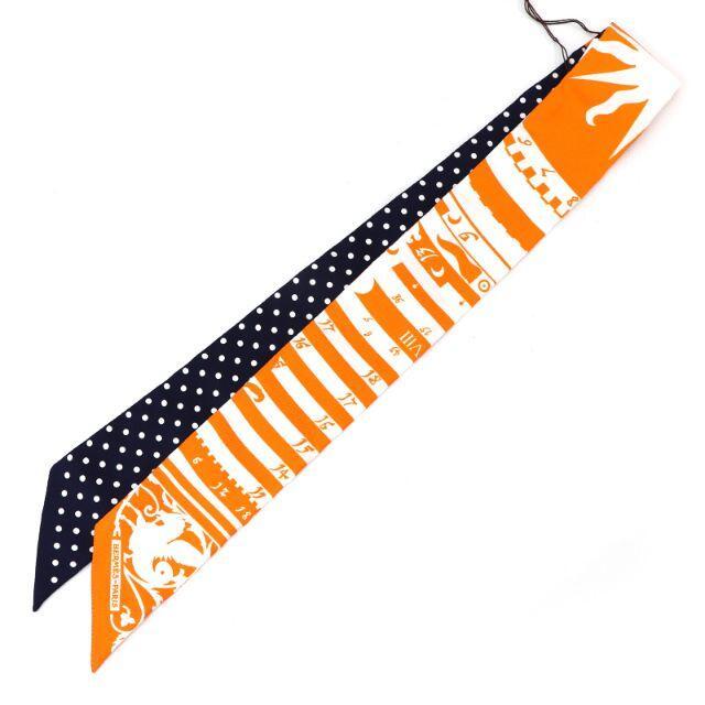Hermes(エルメス)のHERMES ツイリー シルクスカーフ オレンジ×ネイビー系 占星術 A4294 レディースのファッション小物(バンダナ/スカーフ)の商品写真
