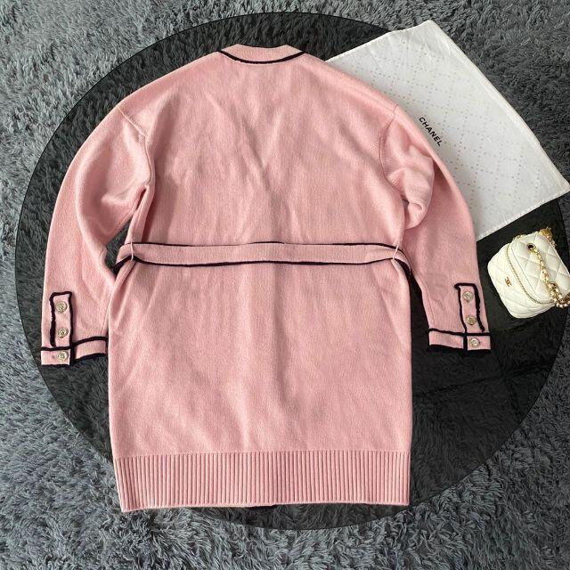 CHANEL(シャネル)のCHANEL ピンク カシミヤ ロングカーディンガン レディースのトップス(ニット/セーター)の商品写真