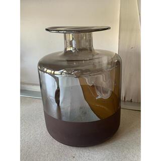 ZARA HOME - 大きなミラー加工バイカラーフラワーベース●ブラウン花瓶