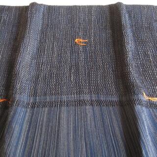 メンズ兵児帯♪紺系のシボとストライプ♪綴糸付き未使用♪女性にもおすすめ(浴衣帯)